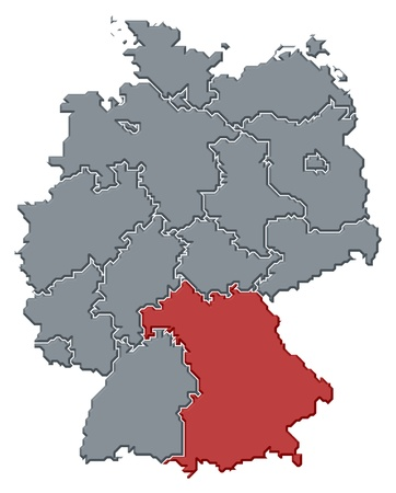 Political map of Germany with the several states where Bavaria is highlighted. photo