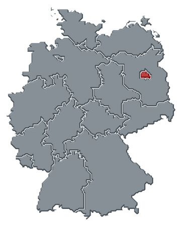 Political map of Germany with the several states where Berlin is highlighted.