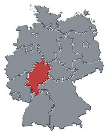 hesse: Political map of Germany with the several states where Hesse is highlighted.