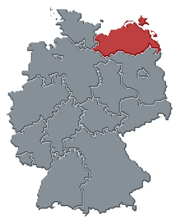 Political map of Germany with the several states where Mecklenburg-Vorpommern is highlighted. photo