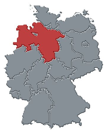 Political map of Germany with the several states where Lower Saxony is highlighted. photo