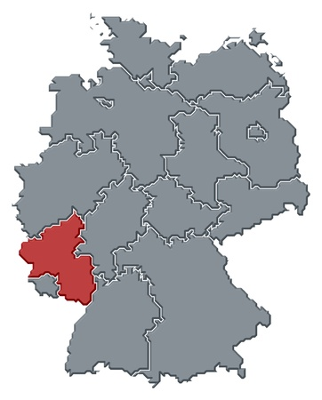 Political map of Germany with the several states where Rhineland-Palatinate is highlighted. photo