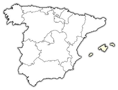 Politische Landkarte von Spanien mit den verschiedenen Regionen, in denen die Balearen sind hervorgehoben.