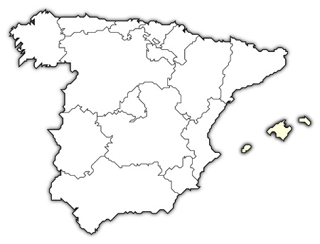 Political map of Spain with the several regions where the Balearic Islands are highlighted.