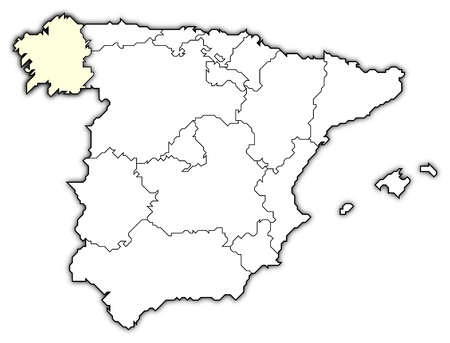 Political map of Spain with the several regions where Galicia is highlighted. photo