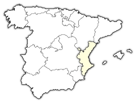 valencia: Political map of Spain with the several regions where the Valencian Community is highlighted.