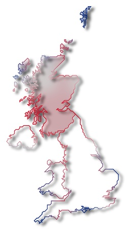 Political map of United Kingdom with the several countries where Scottland is highlighted. Stock Photo