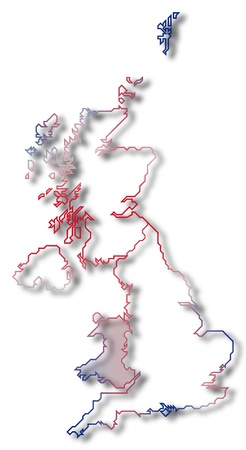 Political map of United Kingdom with the several countries where Wales is highlighted. photo