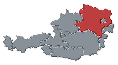 Political map of Austria with the several states where Lower Austria is highlighted.