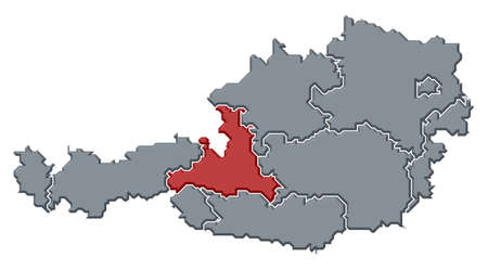 Political map of Austria with the several states where Salzburg is highlighted.