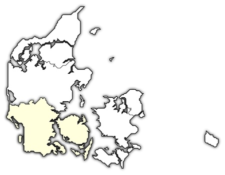 frontiers: Political map of Danmark with the several regions where South Denmark is highlighted.