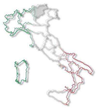 Political map of Italy with the several regions where Trentino-Alto AdigeS�dtirol is highlighted. photo