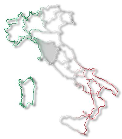 Political map of Italy with the several regions where Tuscany is highlighted. photo