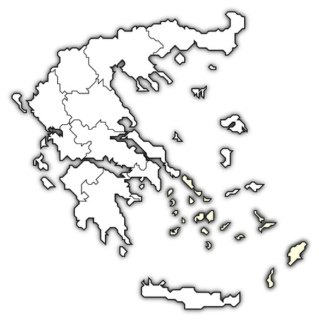 aegean: Political map of Greece with the several states where South Aegean is highlighted.