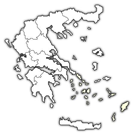 """Polityczna mapa Grecji z kilku paÅ""""stw, w których poÅ'udniowej części Morza Egejskiego jest podÅ›wietlona. Zdjęcie Seryjne - 10818570"""