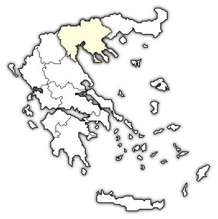 Political map of Greece with the several states where Central Macedonia is highlighted. photo