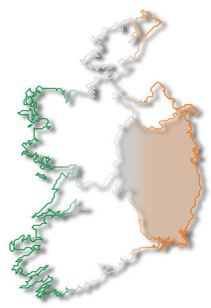 leinster: Political map of Ireland with the several provinces where Leinster is highlighted. Stock Photo