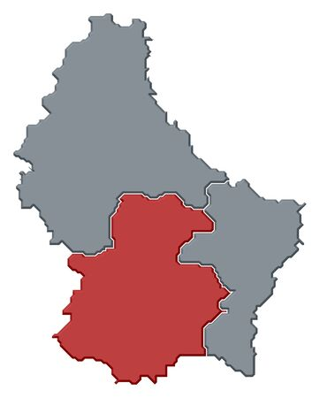 Political map of Luxembourg with the several districts where the district Luxemburg is highlighted.