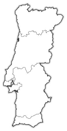 Political Map Of Portugal With The Several Regions Stock Photo
