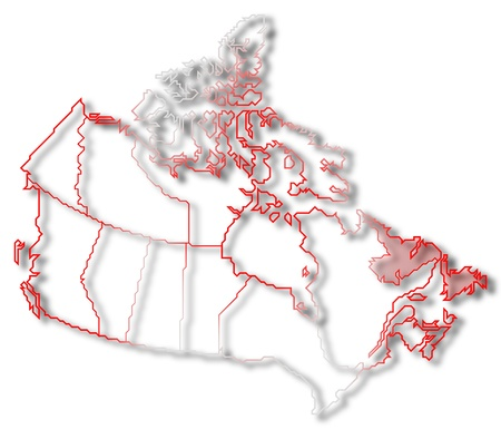 Political map of Canada with the several provinces where Newfoundland and Labrador is highlighted.