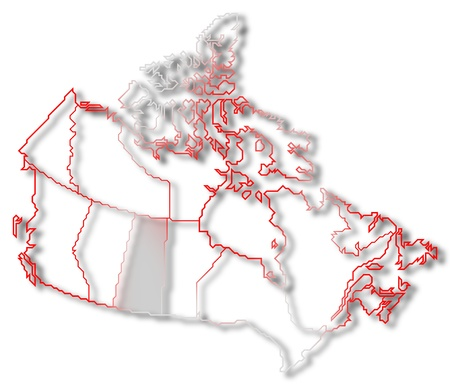Political map of Canada with the several provinces where Saskatchewan is highlighted. Stock Photo