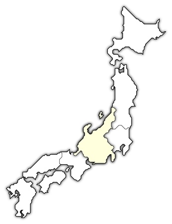 chubu: Political map of Japan with the several regions where Chubu is highlighted.