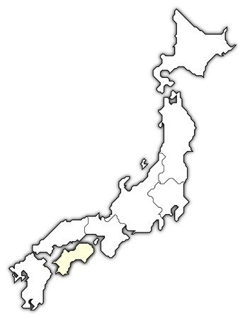 Political map of Japan with the several regions where Shikoku is highlighted. Stock Photo