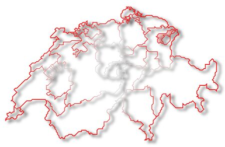 Political map of Swizerland with the several cantons where Appenzell Ausserrhoden is highlighted. Stock Photo
