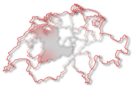 cantons: Political map of Swizerland with the several cantons where Bern is highlighted.
