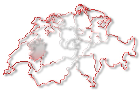 cantons: Political map of Swizerland with the several cantons where Fribourg is highlighted. Stock Photo