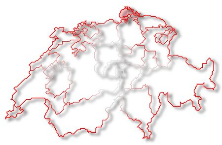 Political map of Swizerland with the several cantons where Schaffhausen is highlighted. photo