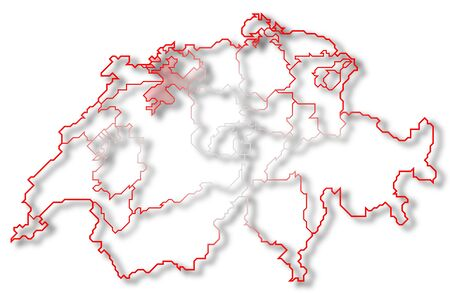 Political map of Switzerland with the several cantons where Soleure is highlighted. photo