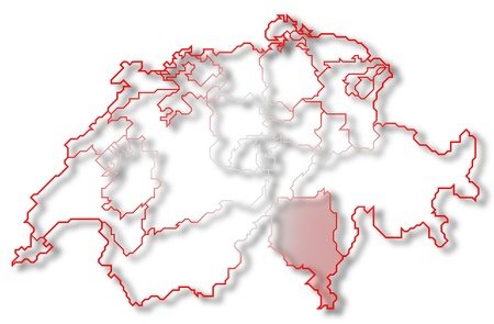 Political map of Swizerland with the several cantons where Ticino is highlighted. photo
