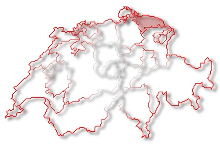 Political map of Switzerland with the several cantons where Thurgau is highlighted. photo