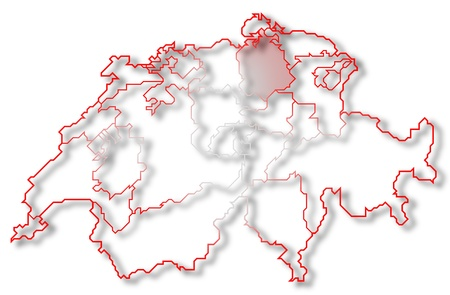 Political map of Swizerland with the several cantons where Zurich is highlighted. photo