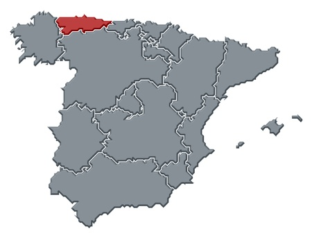 asturias: Political map of Spain with the several regions where Asturias is highlighted. Stock Photo