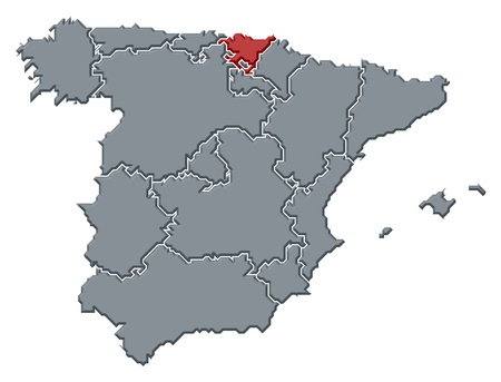 Political map of Spain with the several regions where Basque Country is highlighted. photo