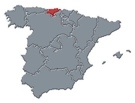 Political map of Spain with the several regions where Cantabria is highlighted. Stock Photo