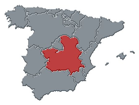 castile: Political map of Spain with the several regions where Castile-La Mancha is highlighted.