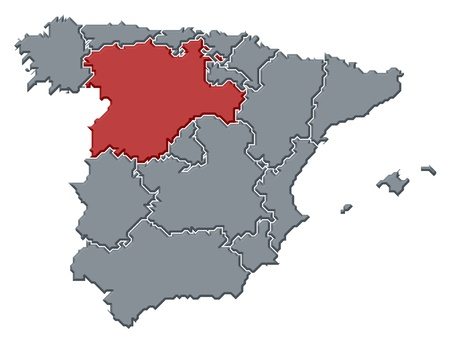 Political map of Spain with the several regions where Castile and Le�n is highlighted. photo