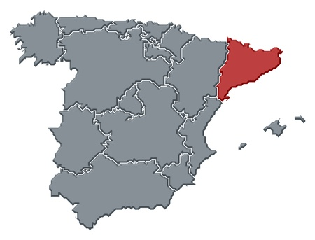 frontiers: Political map of Spain with the several regions where Catalonia is highlighted.