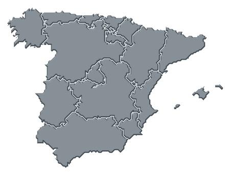 mapa politico: Mapa pol�tico de Espa�a con las diversas regiones.