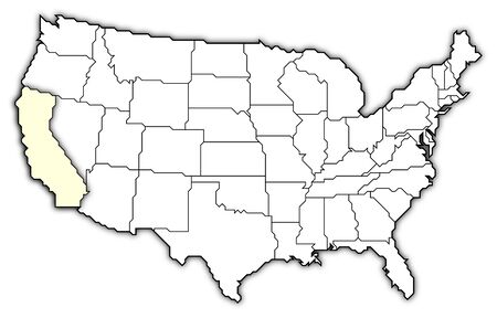 Political Map Of United States With The Several States Where - Us map with california highlighted