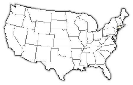 Political map of United States with the several states where Connecticut is highlighted. Stock Photo