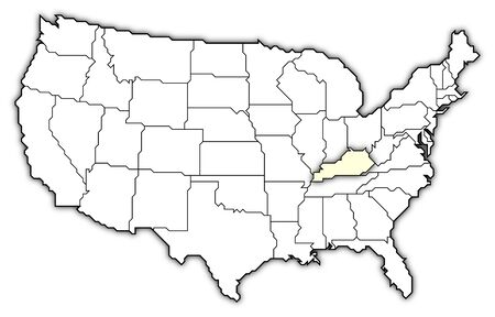 Political map of United States with the several states where Kentucky is highlighted. photo
