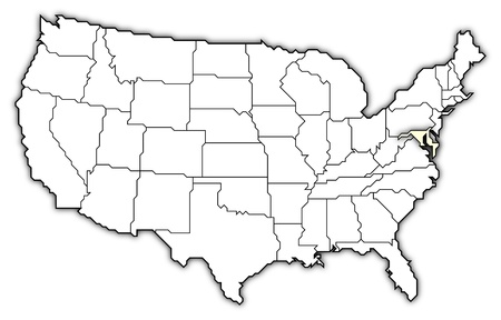 Political map of United States with the several states where Marylansd is highlighted. Stock Photo