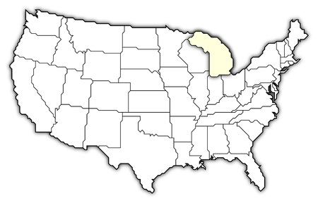 Political Map Of United States With The Several States Where Michigan Is Highlighted Stock Po