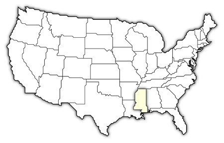 frontiers: Political map of United States with the several states where Mississippi is highlighted.