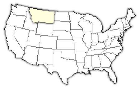 montana: Political map of United States with the several states where Montana is highlighted. Stock Photo