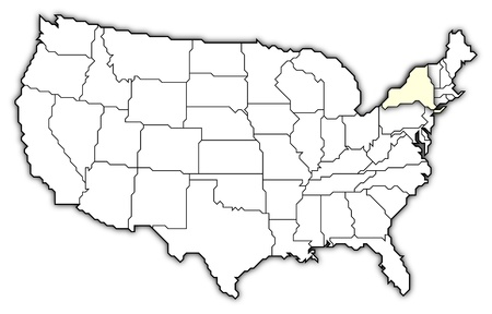 Political map of United States with the several states where New York is highlighted. photo